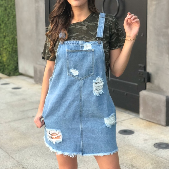 7e3bfb1bfc Denim Distressed Jumper Dress